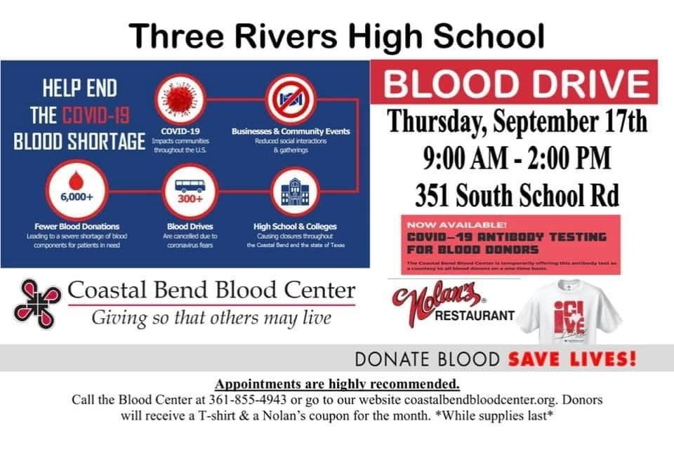 Three Rivers blood drive flyer.